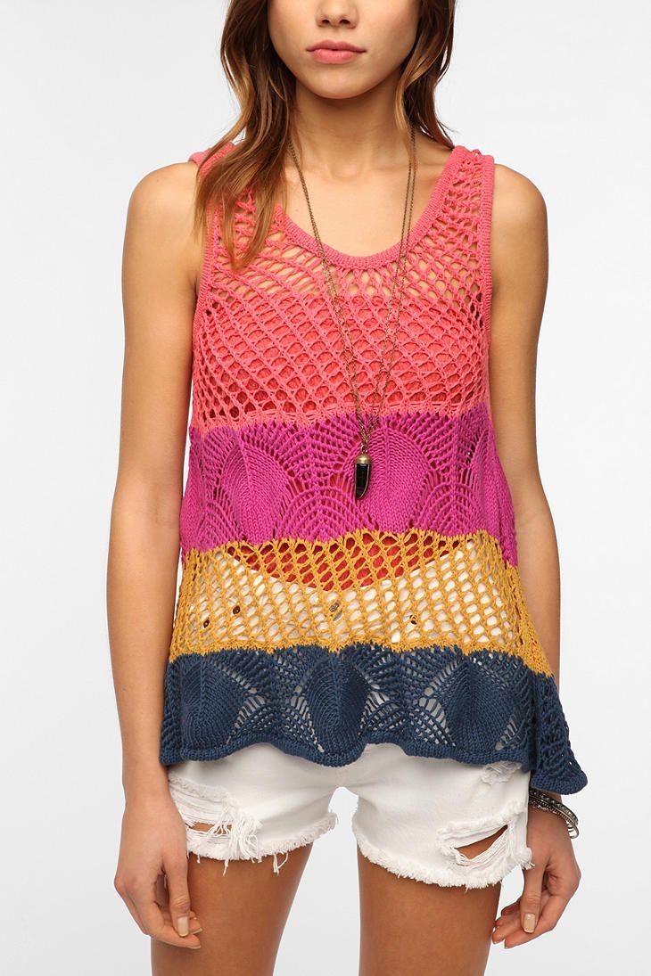Staring at Stars Crochet Mix Hanky Tank  #UrbanOutfitters