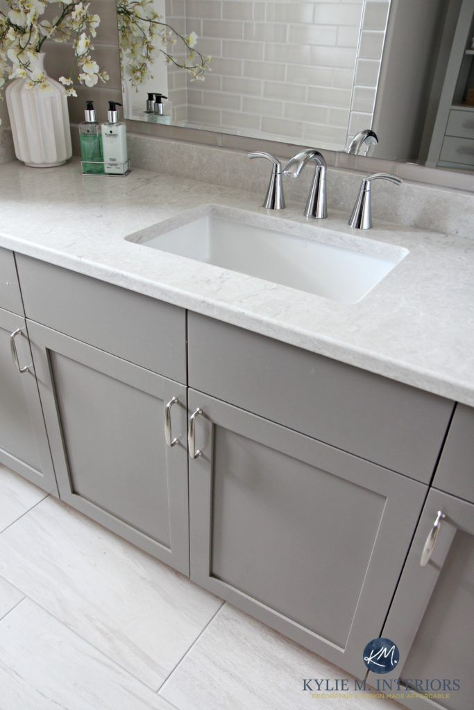 Bathroom Vanity Painted Metropolis Benjamin Moore Gray Caesarstone Bianco Drift Greige Quartz Countertop Moen Glyde Faucet And Porcelain Tile Flooring By