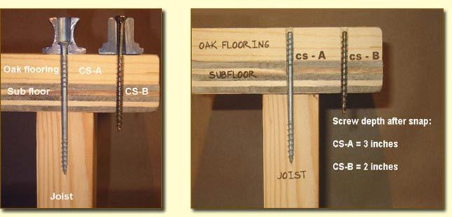 Fixing Squeaky Floors With Counter Snap Screws How To Diy In