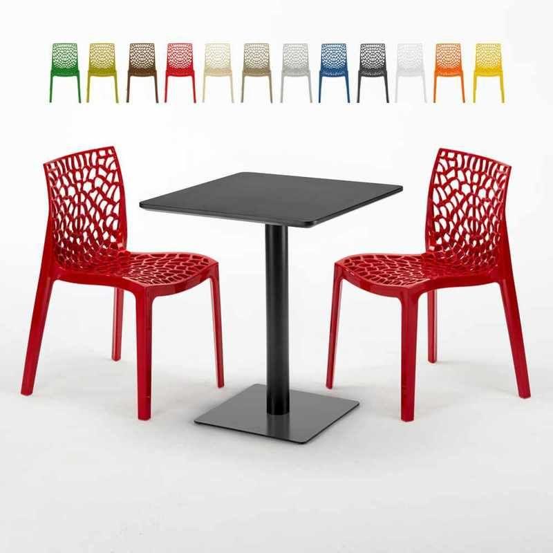 Table carrée 60x60 noire avec 2 chaises colorées GRUVYER ...