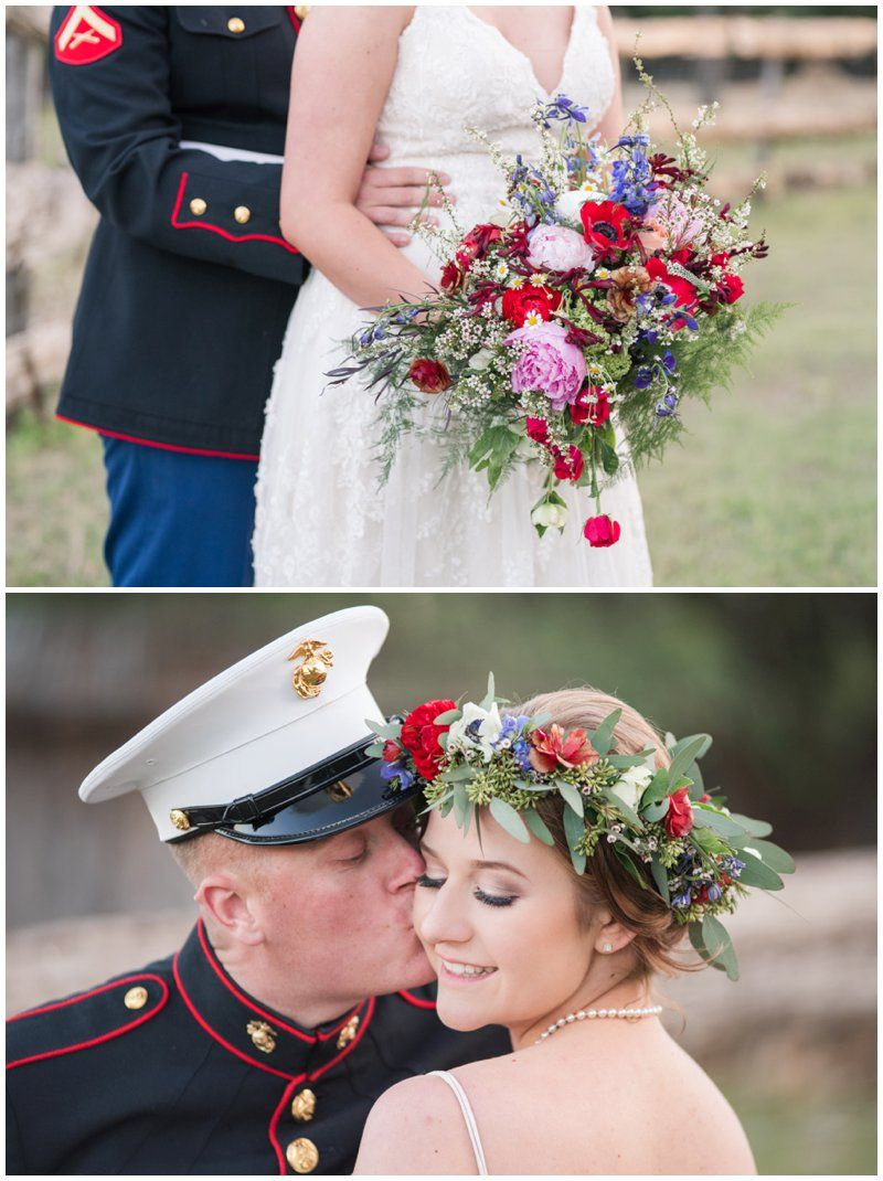 Red White And Blue Wedding Flowers And Flower Crown For Military
