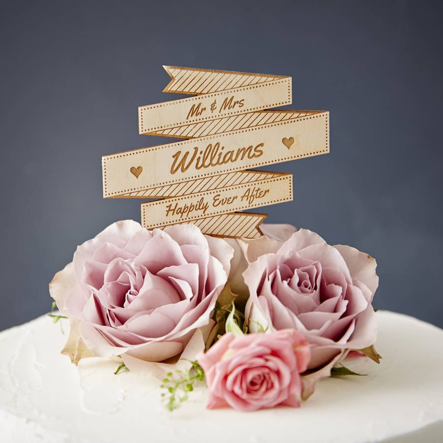 Personalised Wooden Banner Wedding Cake Topper
