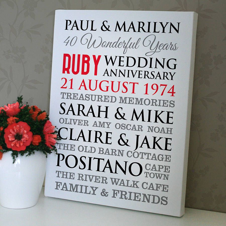 Personalised Ruby Wedding Anniversary Art By A Type Of Design Notonthehighstreet