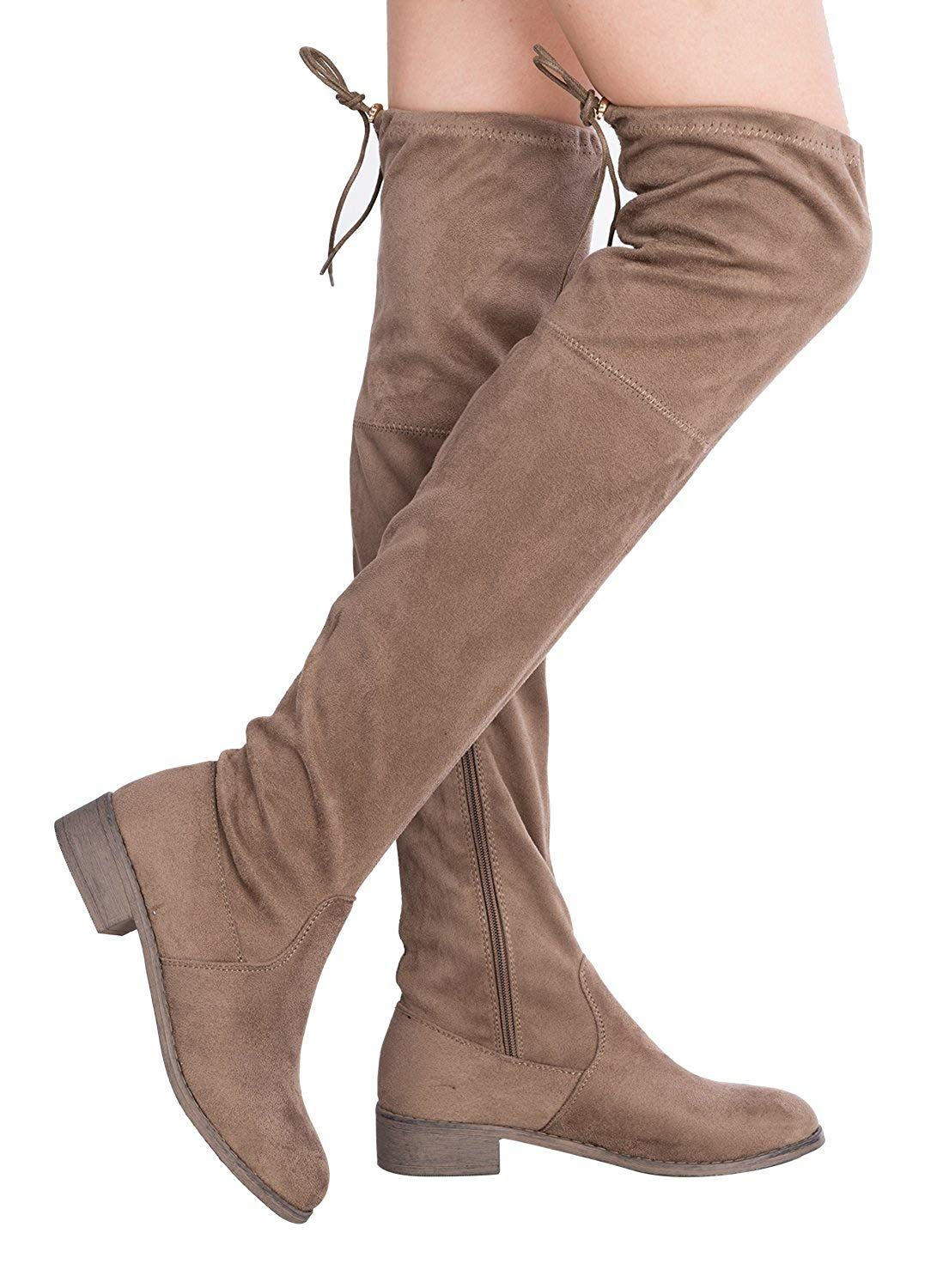 c6ccef7441fd OLIVIA K Women s Sexy Over The Knee Thigh High Faux Suede and Leather Low  Heel Boots -- Learn more by visiting the image link. (This is an affiliate  link)