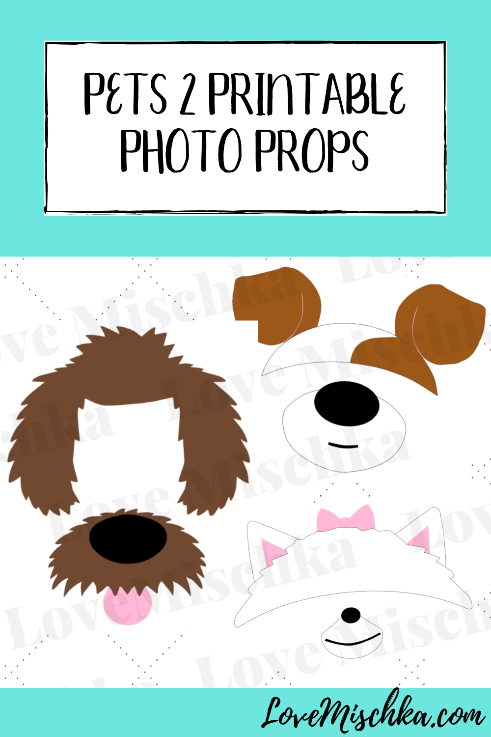 Set Of 6 Printable Pets 2 Photo Props Photobooth Party Etsy In 2020 Printable Photo Props Animal Birthday Photo Props