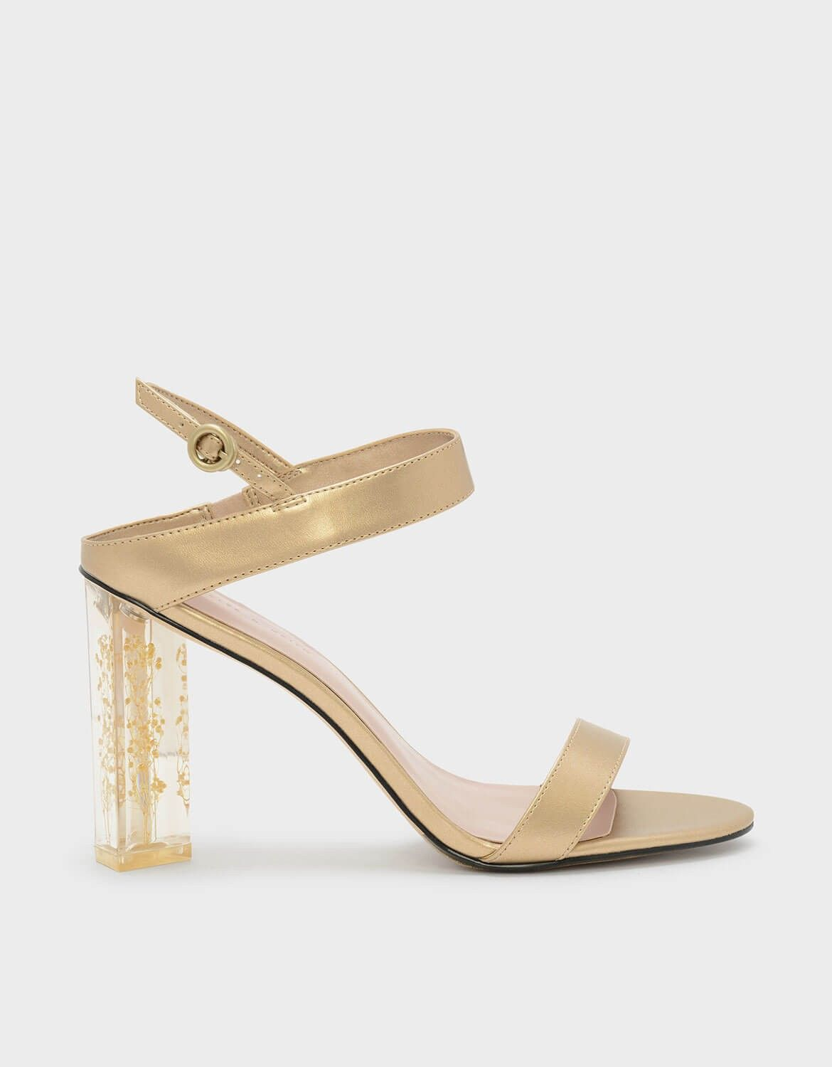 7392a9aa3a9 Gold Floral Lucite Heel Sandals | CHARLES & KEITH | Spring 2018 ...