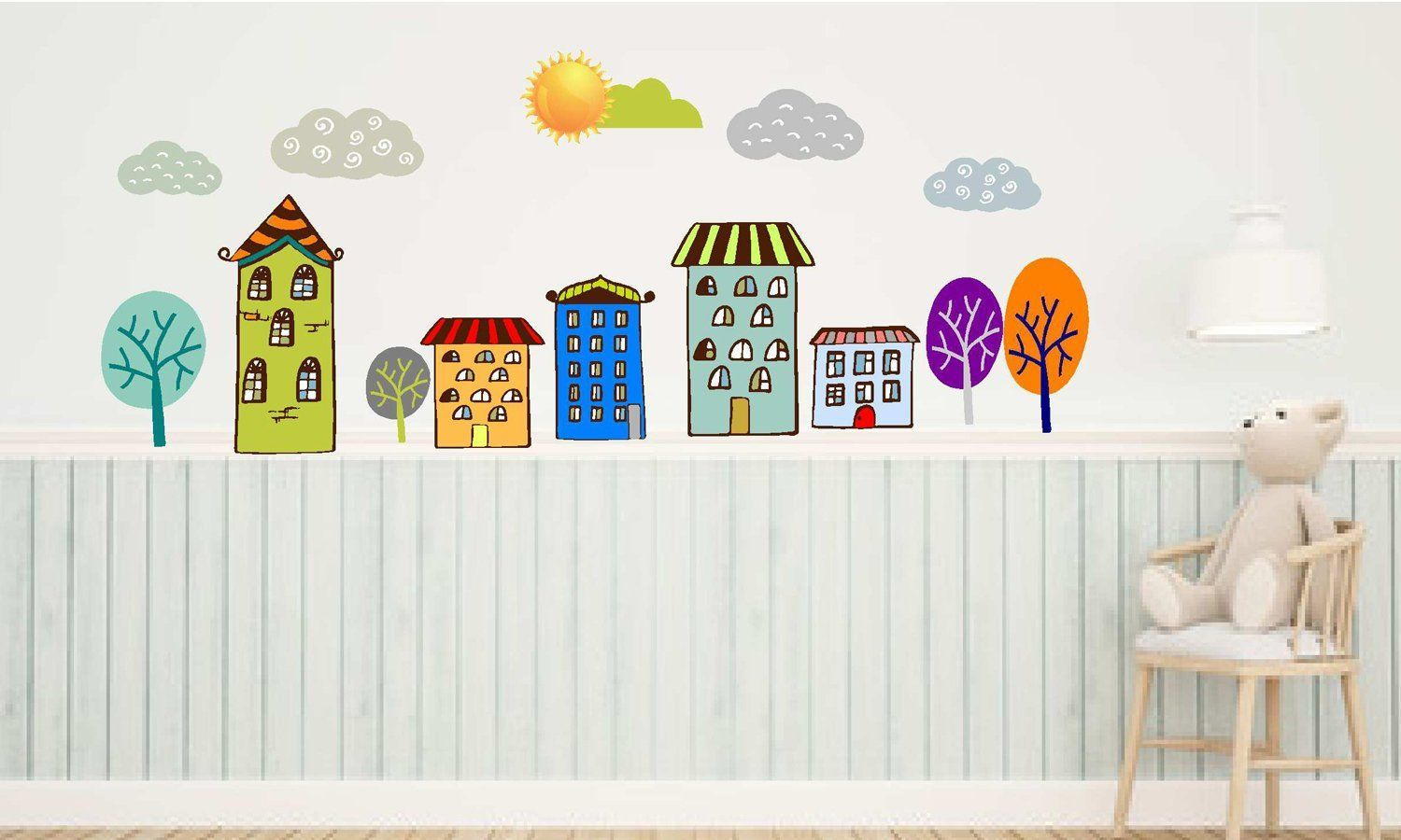 City Wall Decals For Kids Colorful Houses Stickers Kids Wall