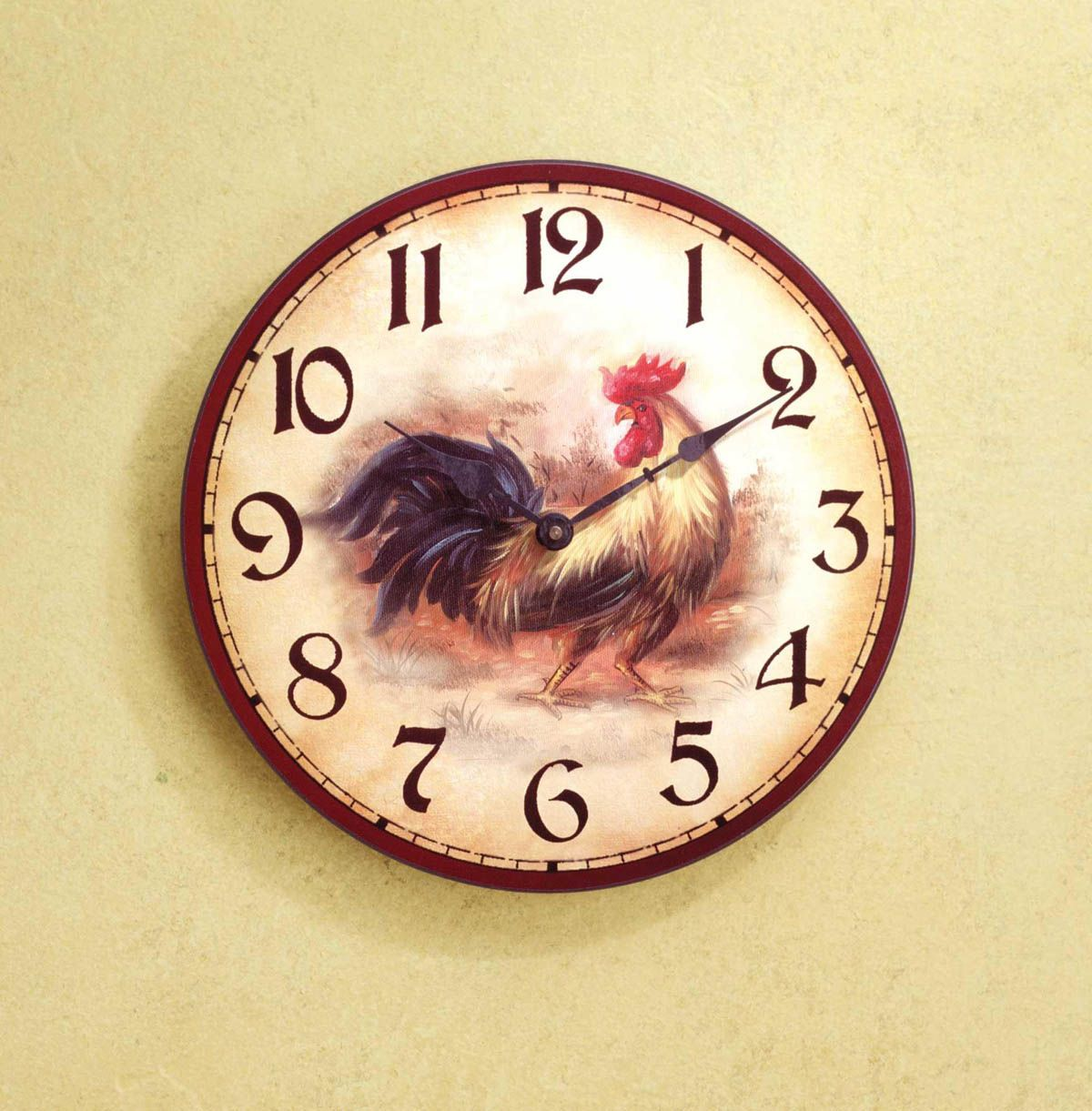 Rooster Wall Clock Description Muted Colors And An Antique Finish Combine  To Make This Wooden Wall Clock Glow With Down Home Country Charm.