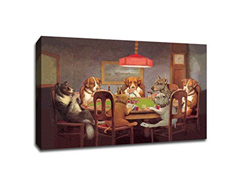 Dogs Playing Poker 1 36x24 Canvas Vintage Ads Canvas 36x24 Find Out More About The Great Product At The Image Link Note It Poster Prints Gallery Wrap Canvas