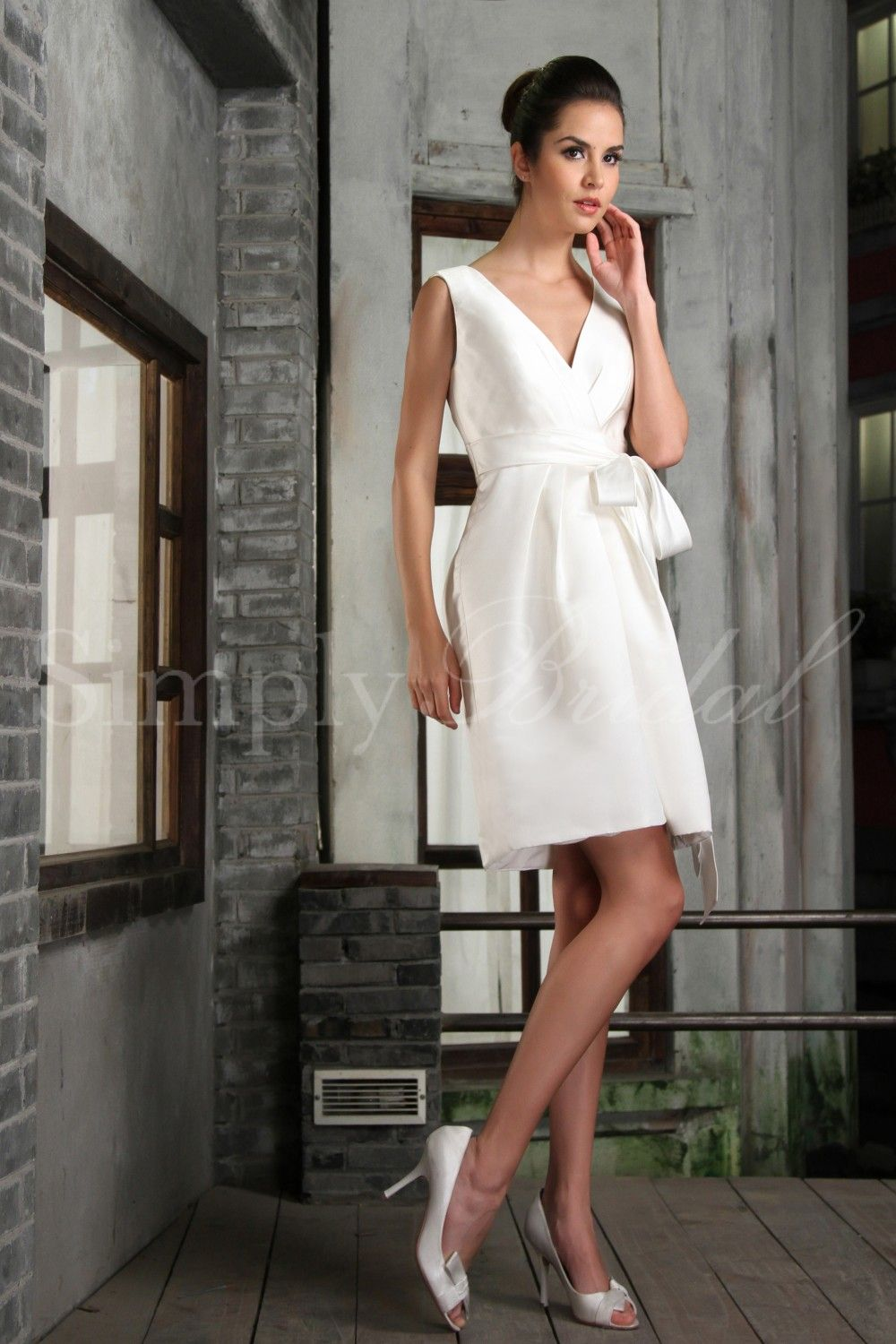 Knee length wedding dress with tie on the hip ideas for e
