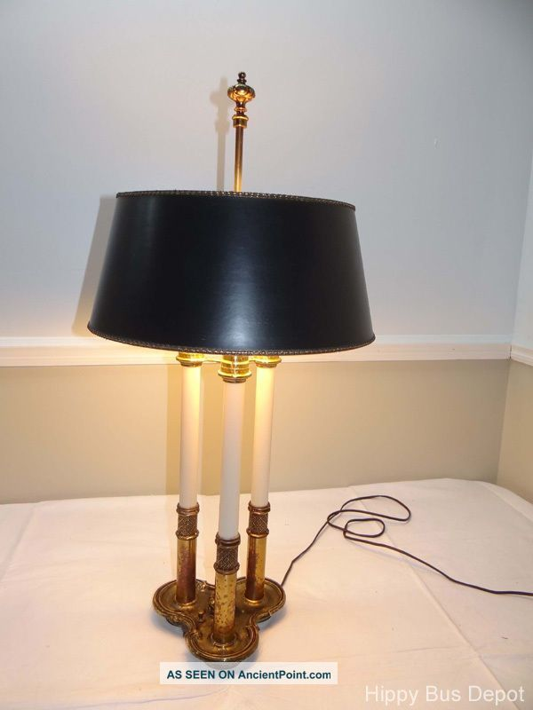 Hollywood Regency Brass Signed Stiffel Bouillotte Lamp & Matching Shade Lamps photo