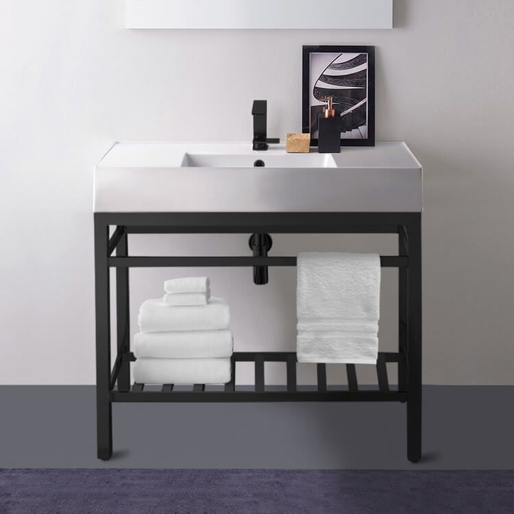Modern Ceramic Console Sink With Counter Space and Matte ...