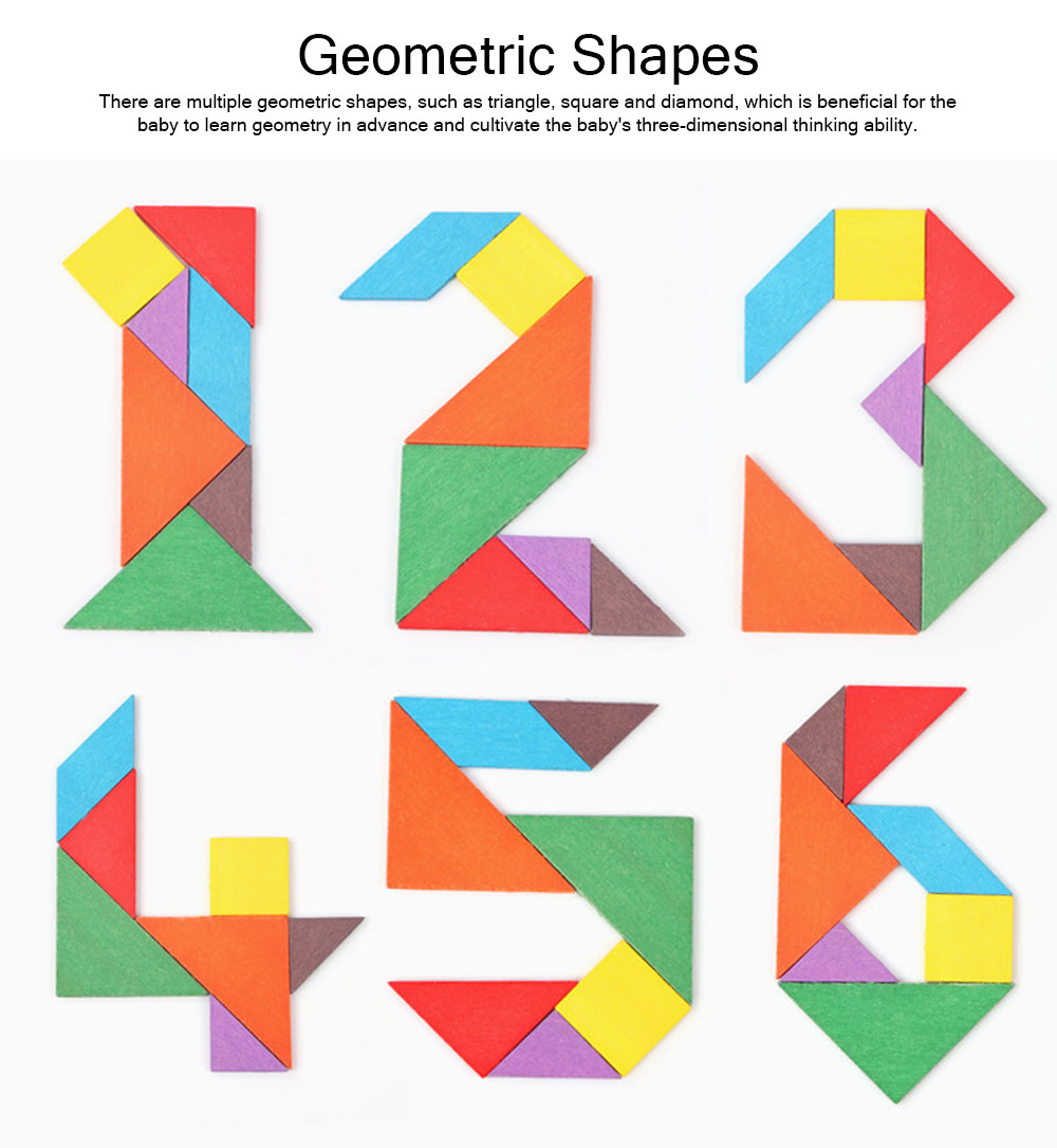Geometric Shapes Puzzles with Wood Material, Colorful