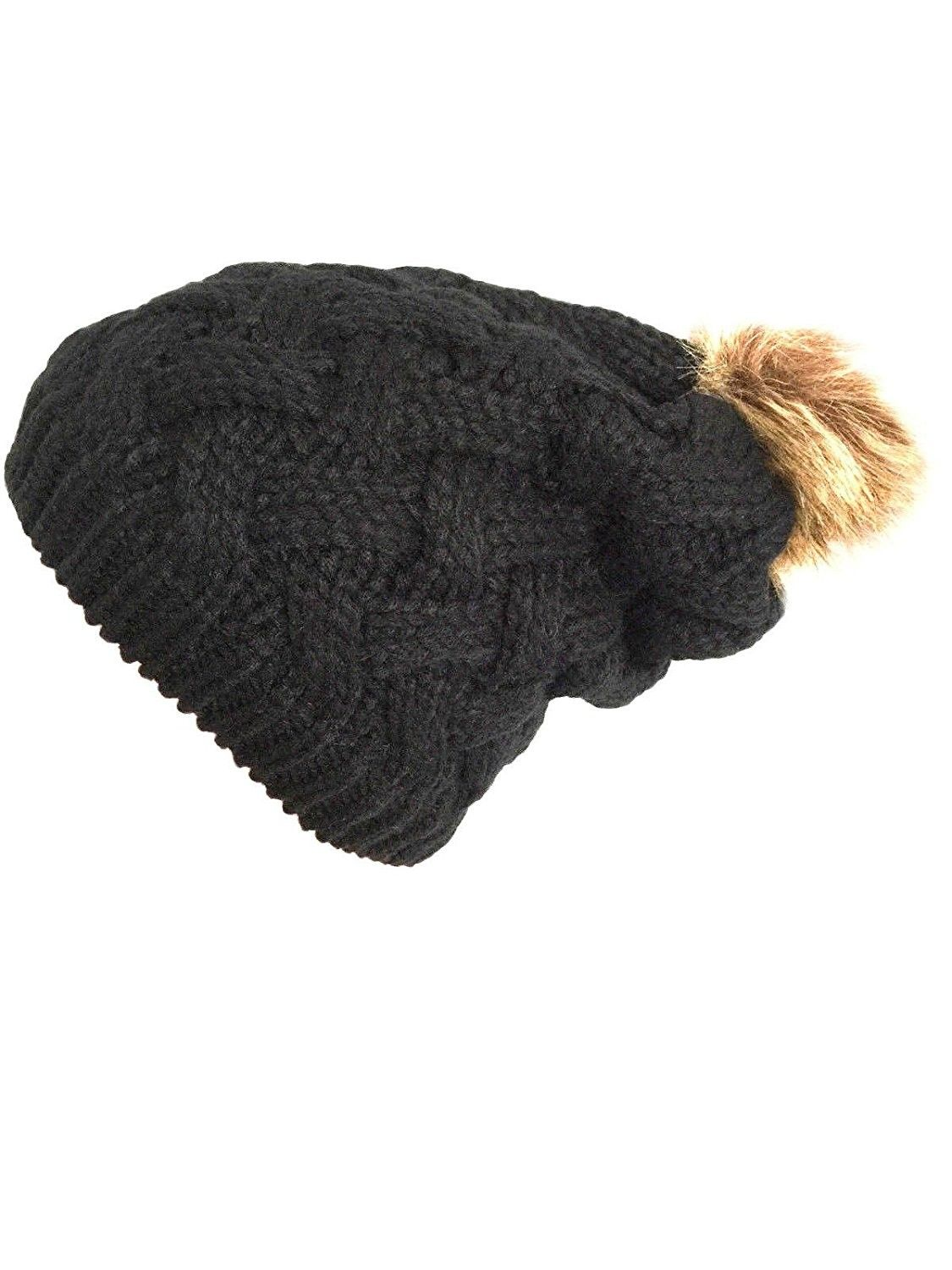 e5910ecf91c Women Chunky Cable Knit Oversized Slouchy Baggy Winter Thick Beanie Hat Pom  Pom - Black -