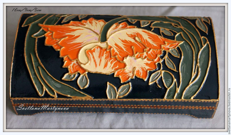 """Купить Купюрница """"Тюльпан"""" - эксклюзивный подарок, лаковая роспись, для украшений, для дома и интерьера, для спальни"""