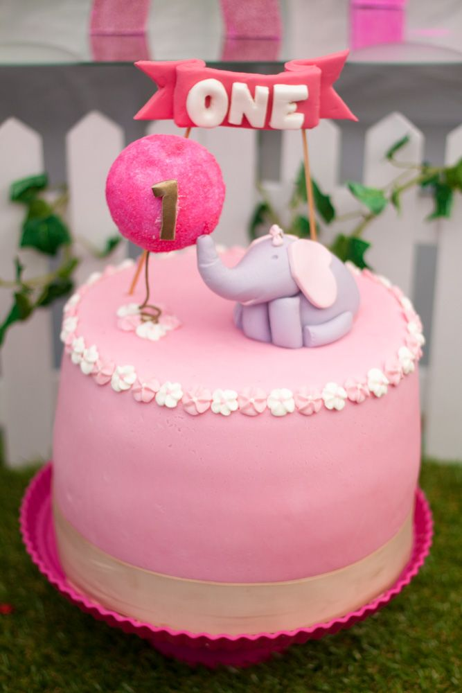 Elephant With Balloon First Birthday Cake