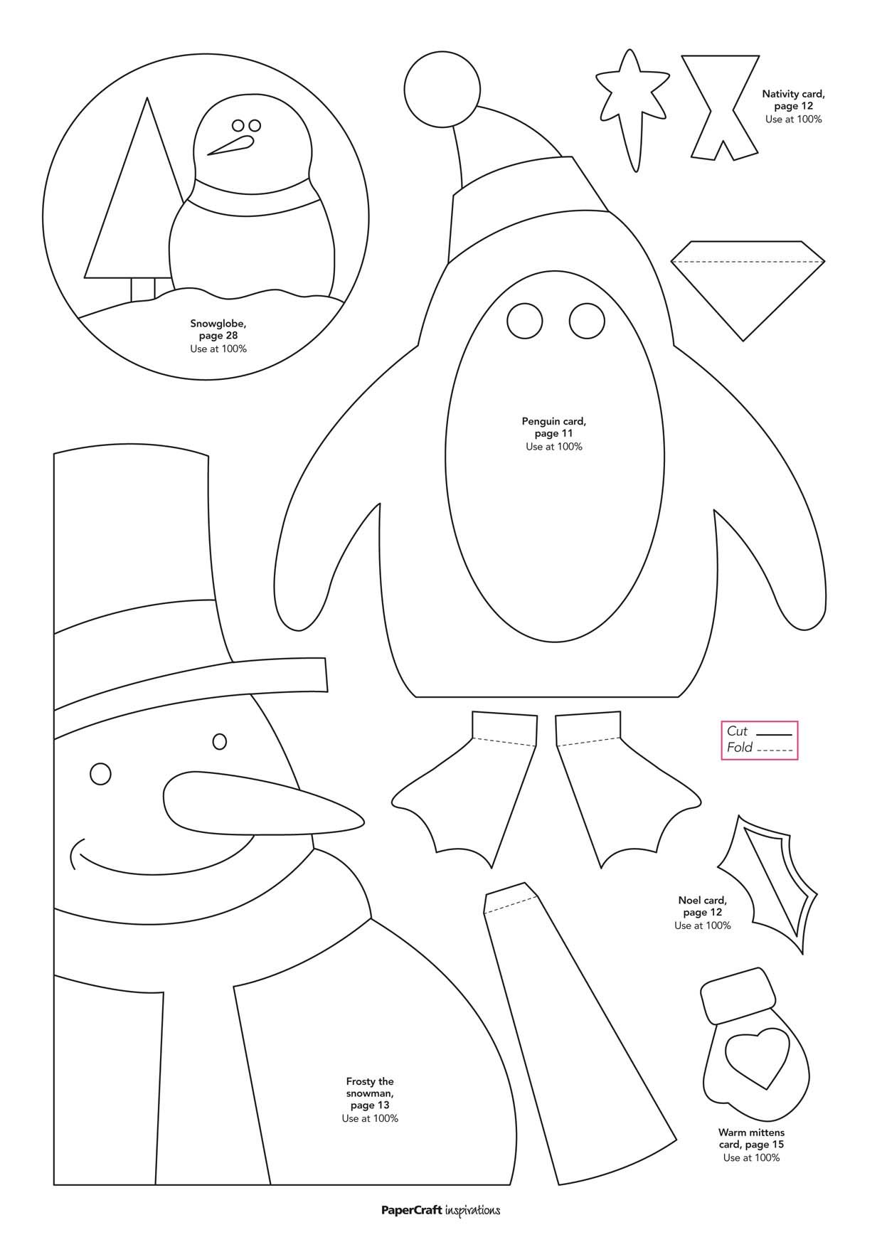 Free Templates Snowman Penguin