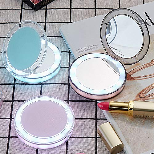 LED Compact Mirror, ICEYA 1X/ 3X Magnification LED Lighted
