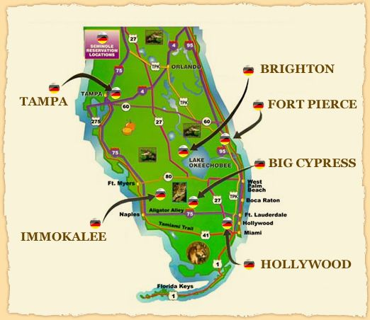 Seminole Florida Map.Seminole Tribe Of Florida Reservations Florida The Seminole