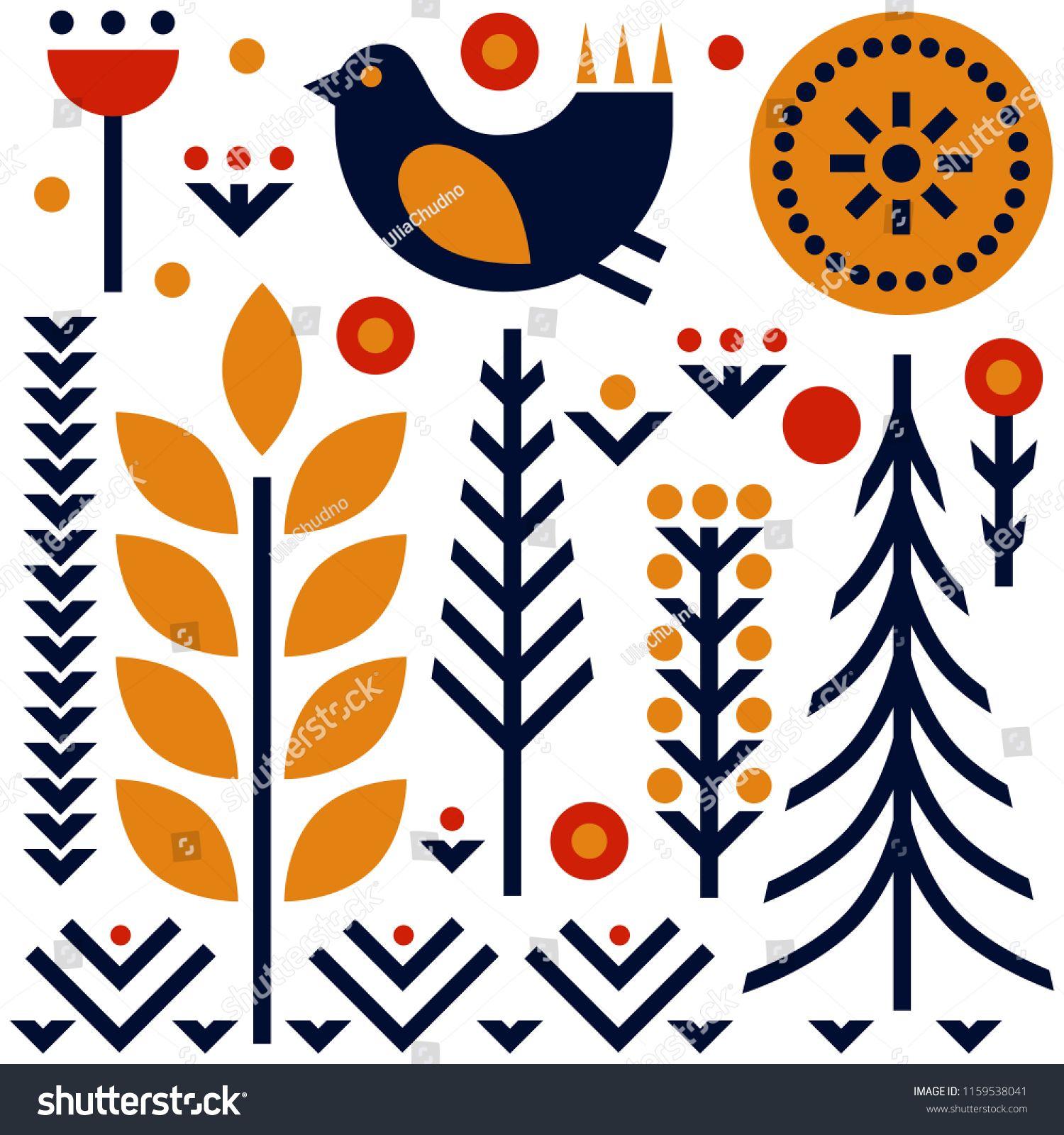 Folk Art Pattern In Scandinavian Nordic Style Ad Sponsored Pattern Art Folk Style Scandinavian Folk Art Pattern Art Art Images