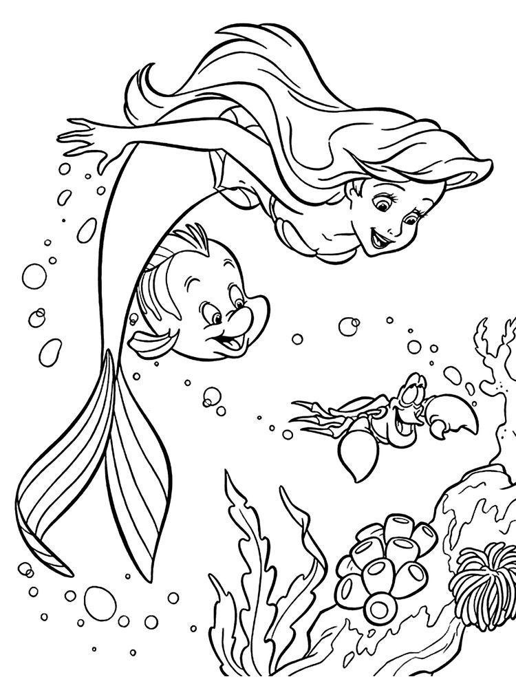 Free Coloring Pages Disney Ariel