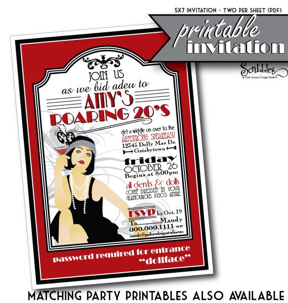 ROARING 20s Printable Party Invitation Gangsters Flappers – Gangster Party Invitations