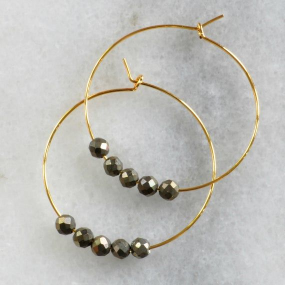Photo of Small Pyrite Beaded Hoop Earrings, Pyrite Hoops, Gold Hoop Earrings, Silver Hoop Earrings, Gunmetal Bead Earrings, Grey Bead, Boho Earrings