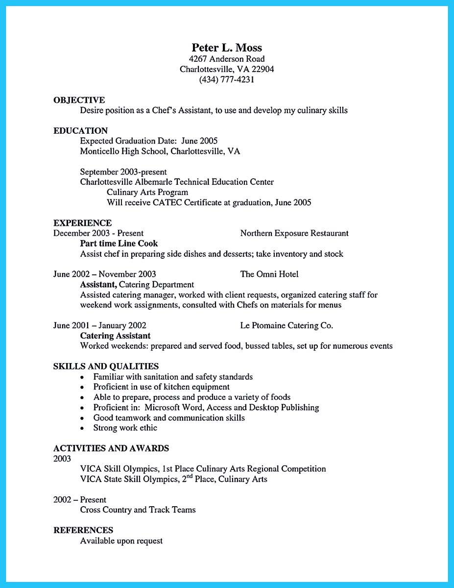 Awesome Excellent Culinary Resume Samples To Help You Approved