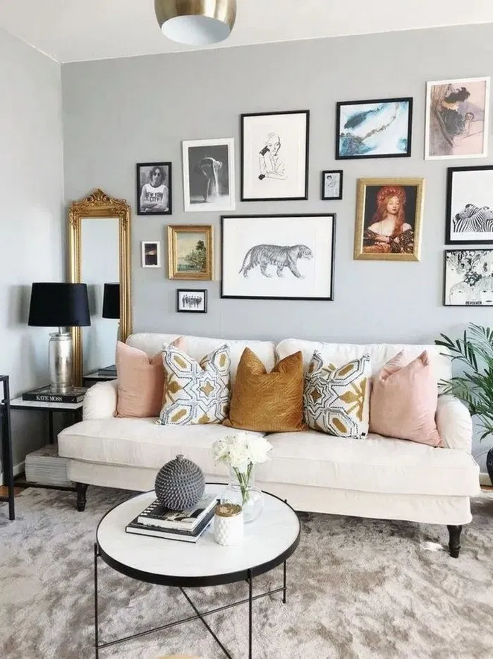 155 Inspiring Wall Decor Ideas For Your Living Room 43 Eclectic Living Room Glam Living Room Wall Decor Living Room
