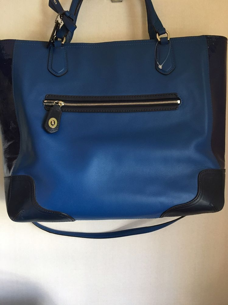 Coach Women s Poppy Texture Shoulder Tote Bag Leather Purse Blue  Coach   TotesShoppers 9b1c627d46