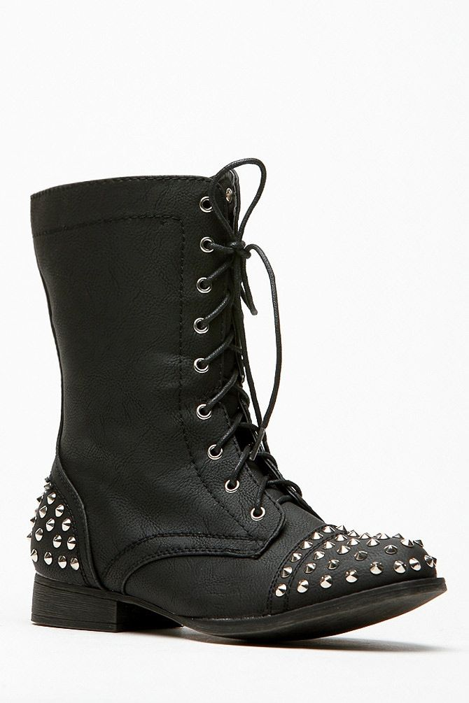 8736e0607d55 Bamboo Spiked Studded Black Combat Boots   Cicihot Boots Catalog women s  winter boots