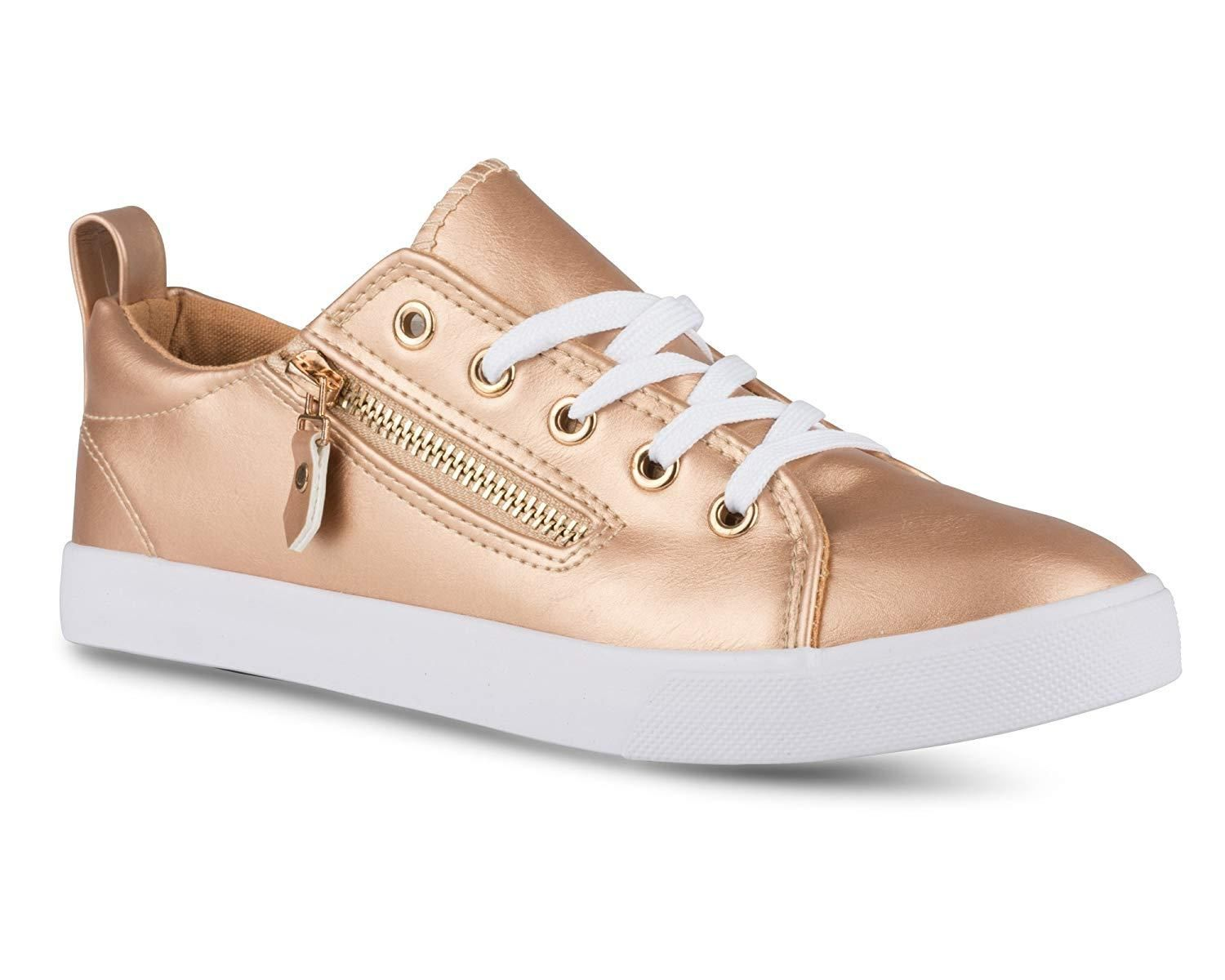 Twisted Womens Alley Faux Leather Fashion Sneaker with Decorative Zipper