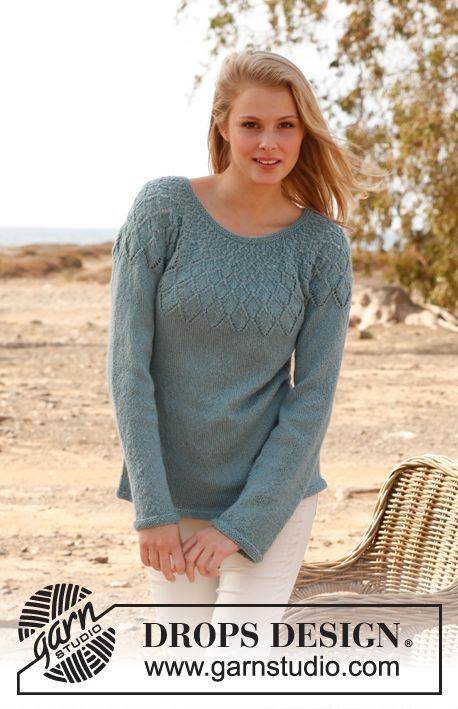 """Knitted DROPS jumper with lace pattern and round yoke in """"BabyAlpaca ..."""