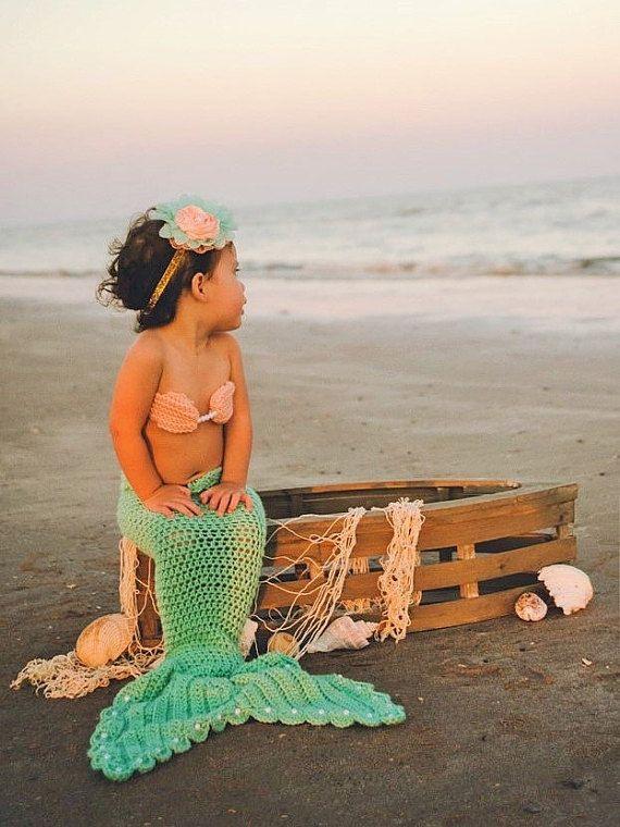 Crochet Mermaid Tail With Top And Starfish Headband 3 Pc Crochet