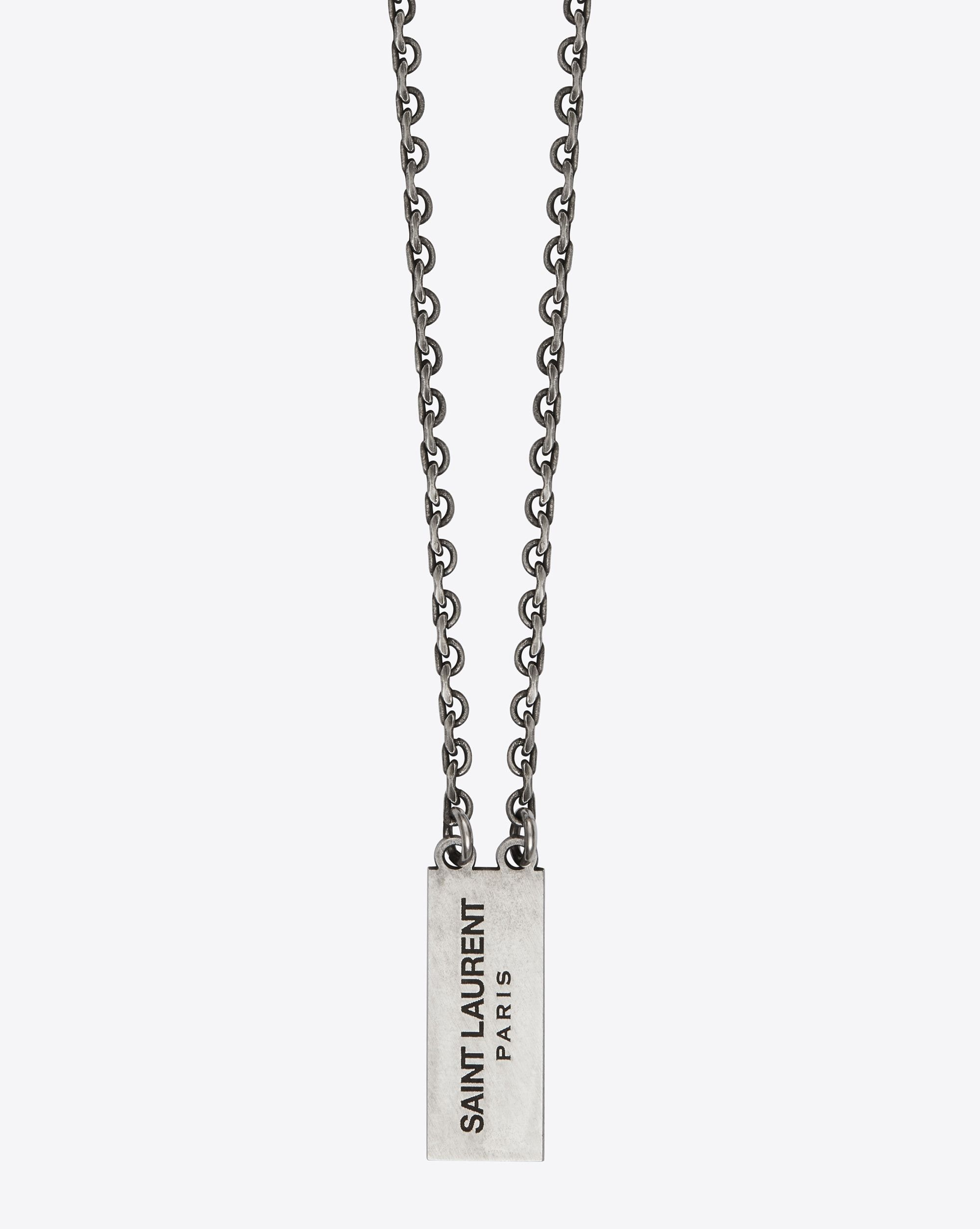 b52b6d6eb8 $495 Saint Laurent CHAINS Necklace With Double Oxidized Silver ...