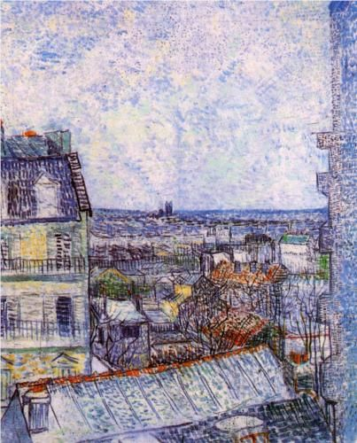 View from Vincent's room in the Rue Lepic - Vincent van Gogh
