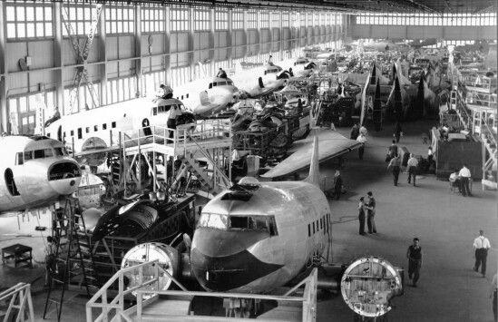 The booming DC-3 line at Cartierville circa 1946. This enterprise brought in a plane load of much-needed cash just as Canadair was trying to get a foothold in the worldwide aviation market. Benjamin Franklin played his cards very sharply in the war surplus materiel game., scooping up trainloads of DC-3 and DC-4 components at Douglas plants in the US at 10 cents a pound.