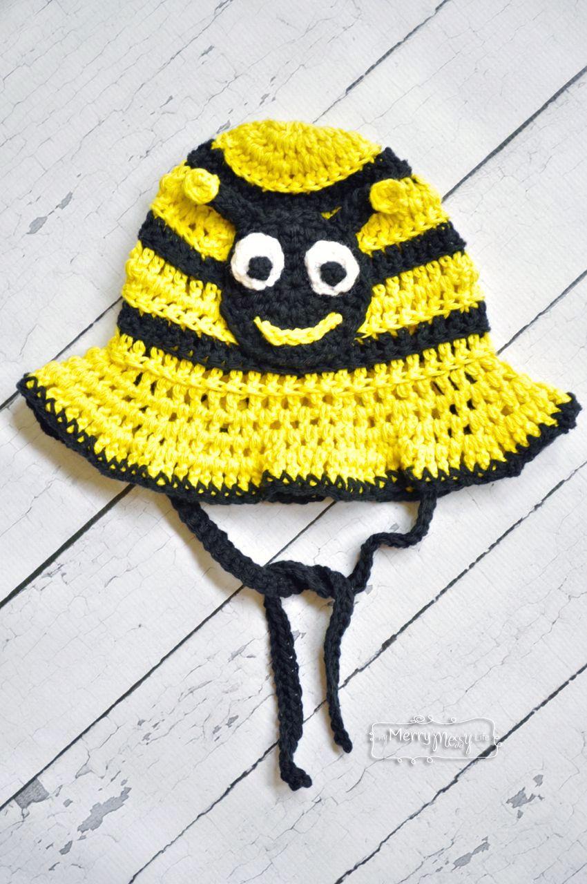 Crochet Bumblebee Sun Hat - Free Pattern in All Sizes | Mütze und Schals