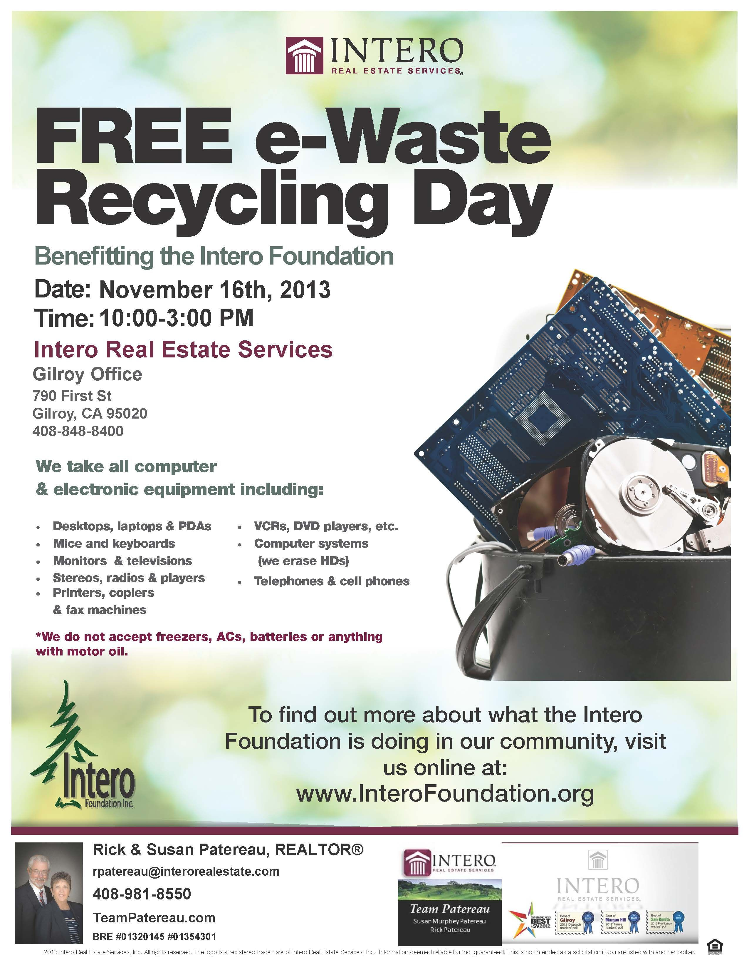 Drop off all your castoff electronics at Intero Real