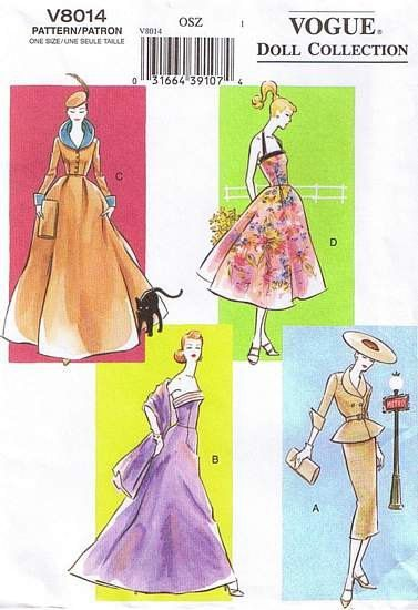 PDF Barbie Sewing Pattern Vintage Inspired 1950s wardrobe Vogue 8014 ...