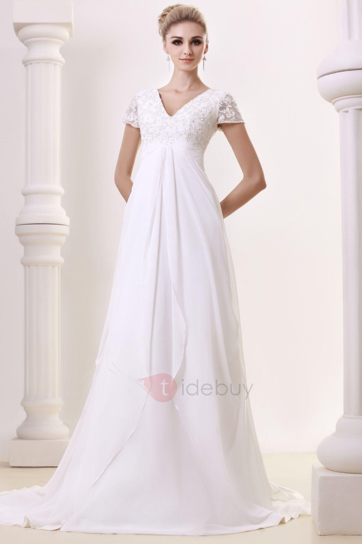 Graceful Empire V-Neck Floor-length Chapel Beading Dasha\'s Bridal ...