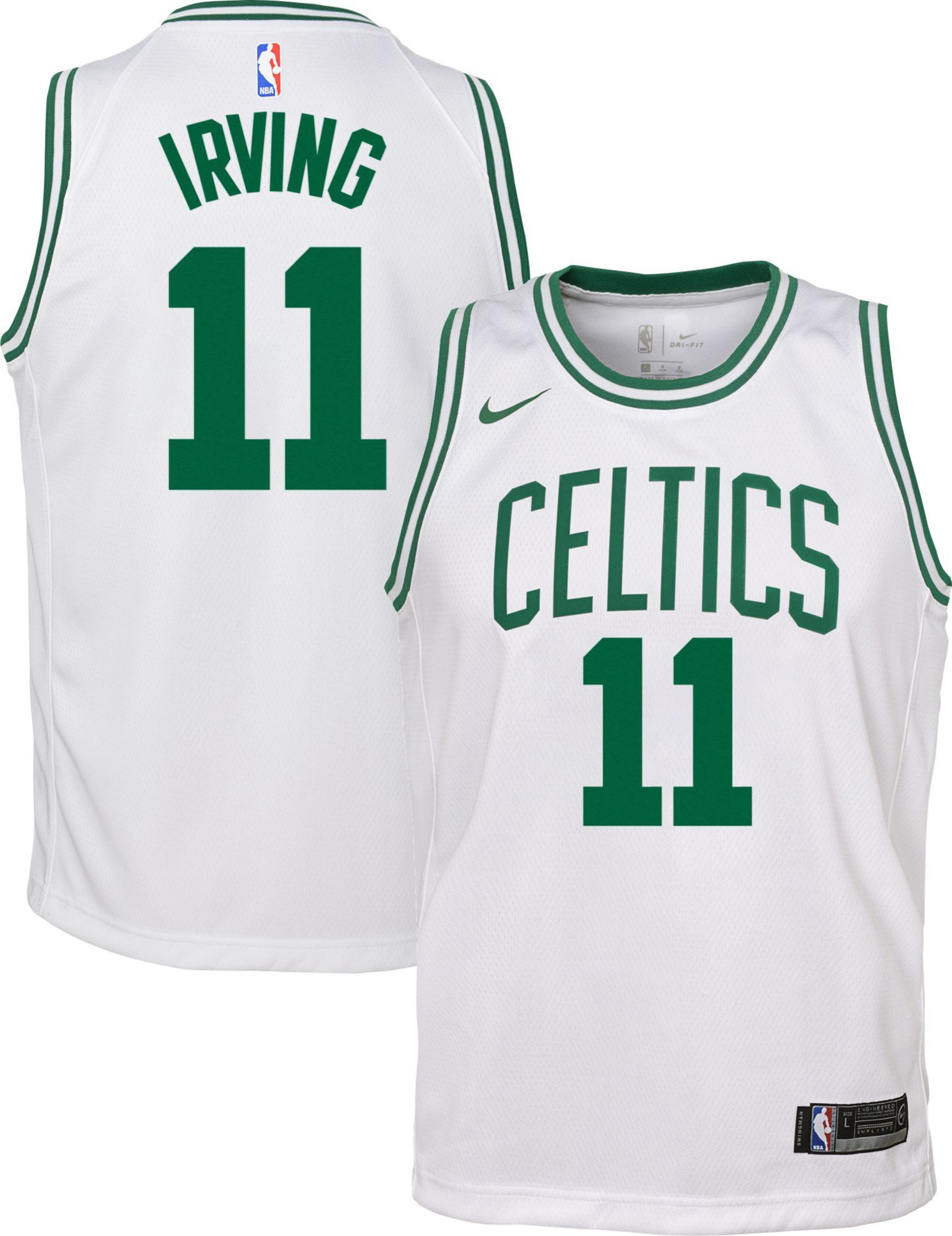 newest collection 00a15 e326d Nike Youth Boston Celtics Kyrie Irving #11 White Dri-FIT ...