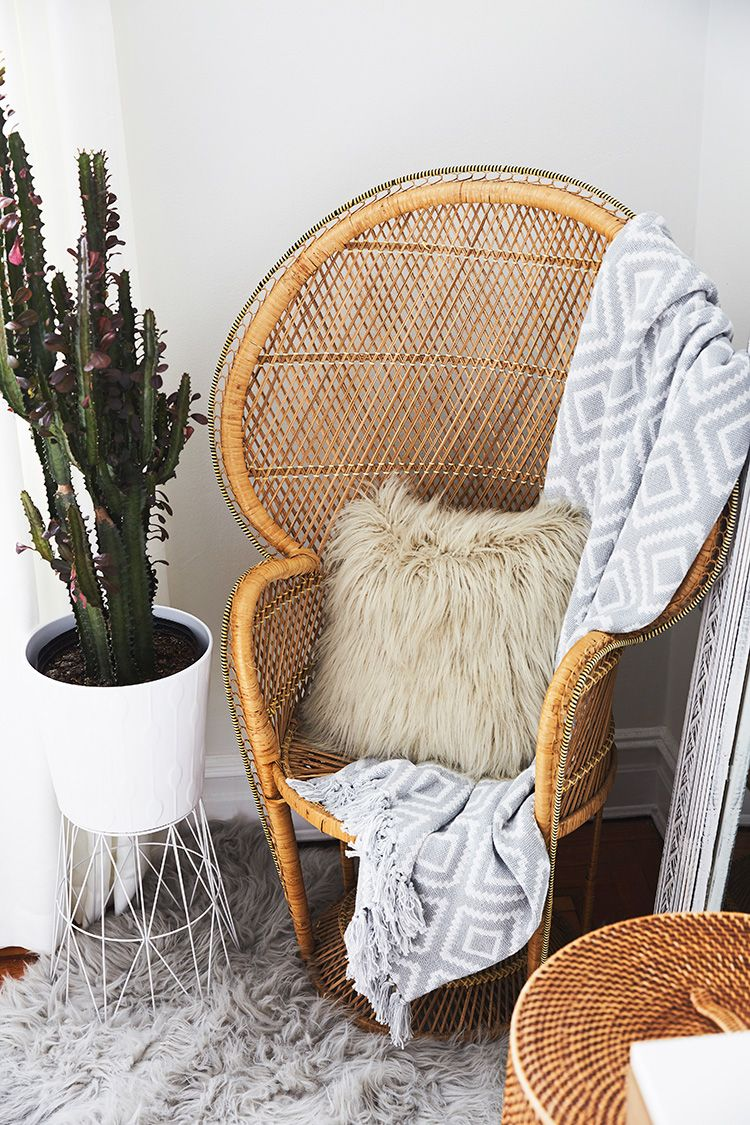 Ordinaire Wooden Woven Accent Chair And Potted Cactus // Love The Mix Of Textures  Here From The Wood To Shag Carpet