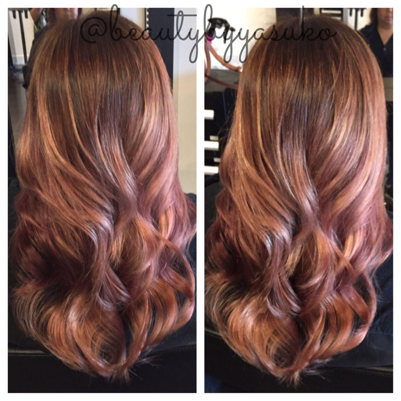 Rose gold balayage ombre hair by @beautybyyasuko