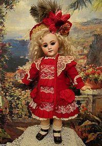 "Red Wool French Dress Bonnet ~20"" French Bebe Doll~ (item #1277205)  #dollshopsunited"