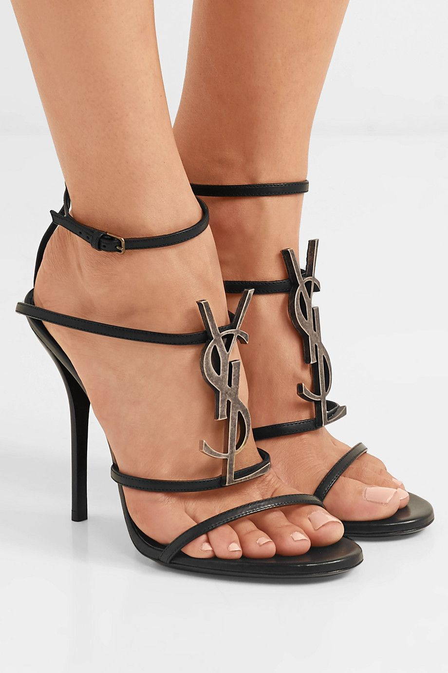 f4127868ff6 Saint Laurent | Cassandra logo-embellished leather sandals |  NET-A-PORTER.COM