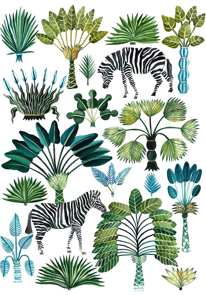 Aitch more pattern tropical green motifs plantes - Dessin de jungle ...