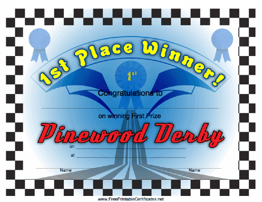 Pinewood Derby Certificates Do Your Best Cub Scouts – 1st Place Certificate
