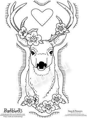 Stag and Flowers, Embroidery Pattern. $10.00, via Etsy.