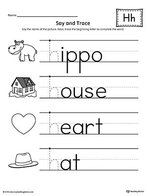 Say and Trace: Letter H Beginning Sound Words Worksheet